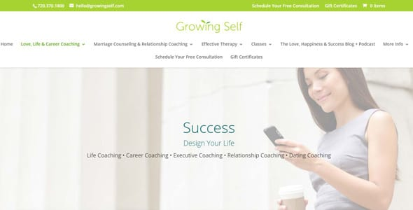 Screenshot of Growing Self's Life Coaching page