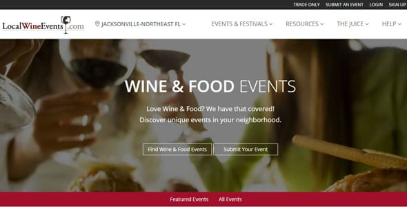 Screenshot of LocalWineEvents.com's homepage