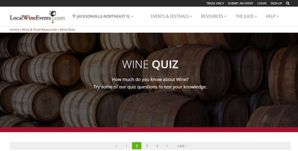 Screenshot of the Wine Quiz on LocalWineEvents.com