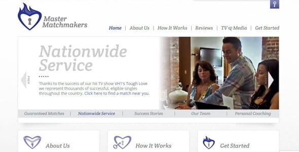 Screenshot of Master Matchmakers' homepage