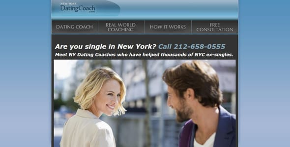 Screenshot of New York Dating Coach's homepage