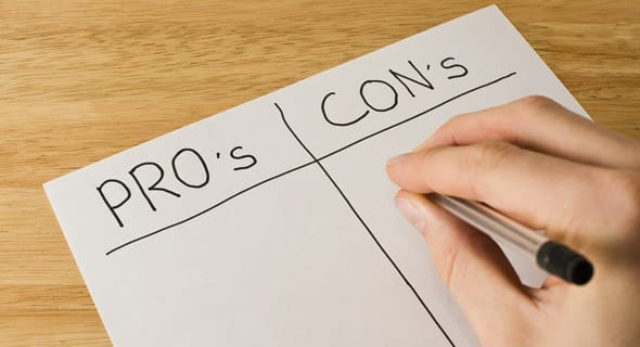 Photo of a pros and cons list