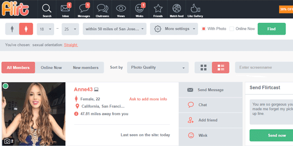 Screenshot of Flirt.com's communication options