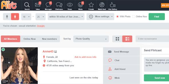 Screenshot of Flirt.com's communication options