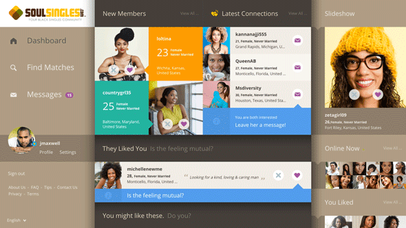 A screenshot of the SoulSingles user dashboard