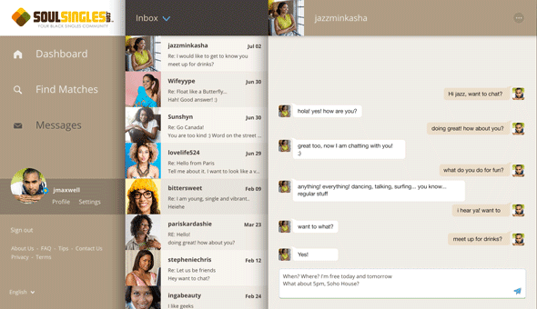 A screenshot of messaging on the SoulSingles site