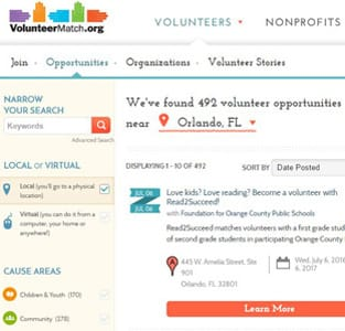 Screenshot of VolunteerMatch's search page