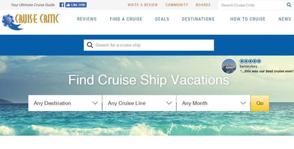 Screenshot of the Cruise Critic homepage