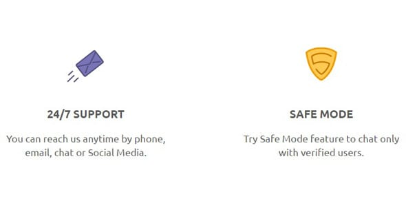 Screenshot of Cupid.com's safety features