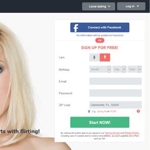 Screenshot of the sign-up for Flirt.com
