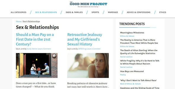 Screenshot of The Good Men Project's sex and relationships page