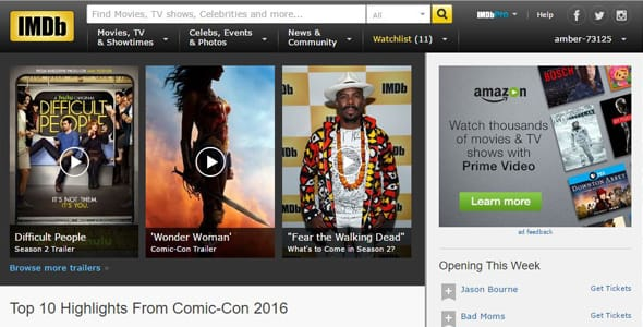 Screenshot of the IMDb homepage
