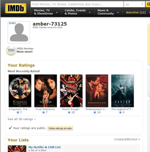 Screenshot of an IMDb profile page