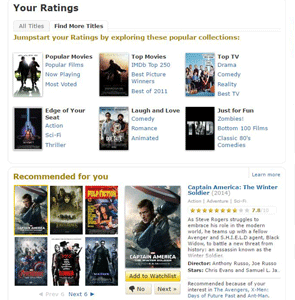 "Screenshot of IMDb's ""Your Ratings"" page"