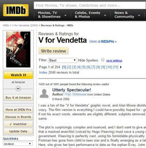 Screenshot of the IMDb user reviews page of V for Vendetta