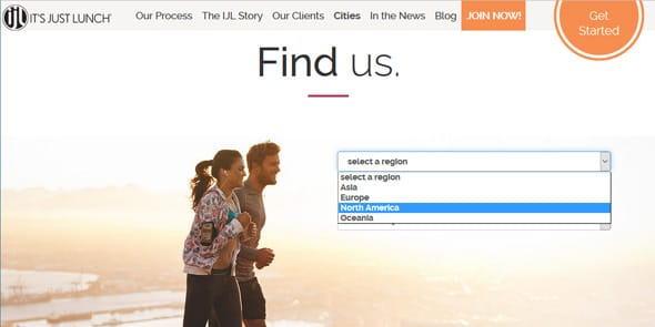 Screenshot of Find Us page at It's Just Lunch