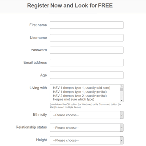 Screenshot of the sign-up page for PositiveSingles