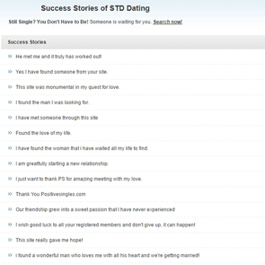 Photo of the PositiveSingles success stories page