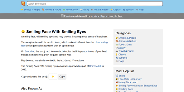 Screenshot of the emoji entry on Emojipedia
