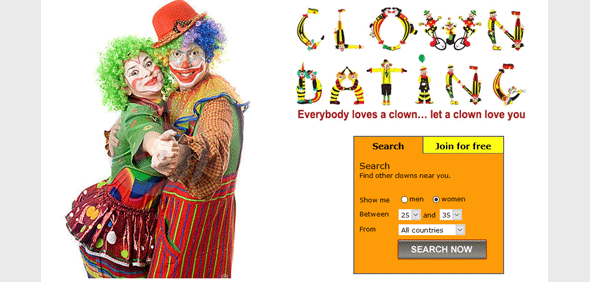 Screenshot of ClownDating homepage