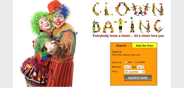 Screenshot of ClownDating homepage