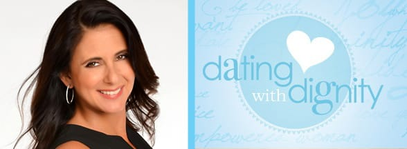 Portrait of Marni Battista and the Dating With Dignity logo