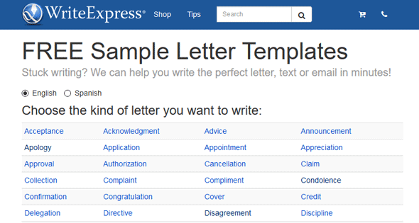 Screenshot of the WriteExpress homepage