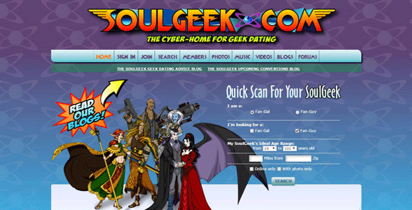 Screenshot of SoulGeek's homepage