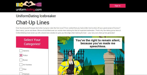 Screenshot of the Icebreakers generator at UniformDating.com