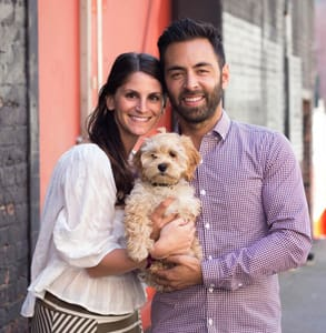 Photo of Ali, her husband Matt, and her dog Teddy