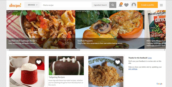 Screenshot of the Allrecipes homepage