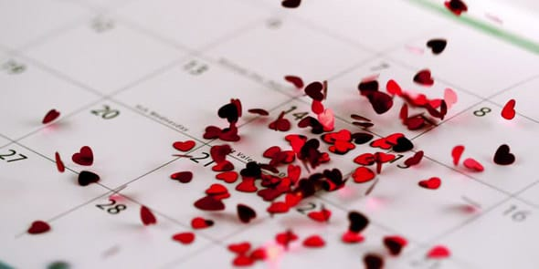 Photo of hearts on a calendar