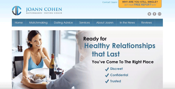 Screenshot of Joann Cohen's matchmaking homepage