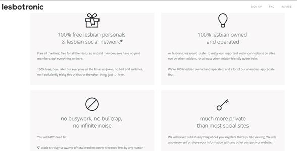 Screenshot of the Lesbotronic promise