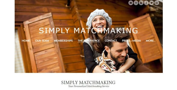 Screenshot of Simply Matchmaking's homepage