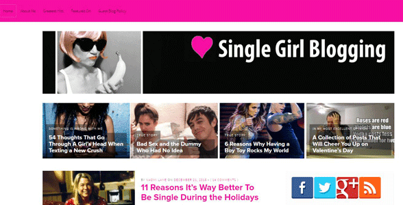 Screenshot of the Single Girl Blogging homepage