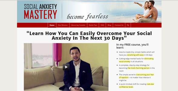 Screenshot of the Social Anxiety Mastery homepage