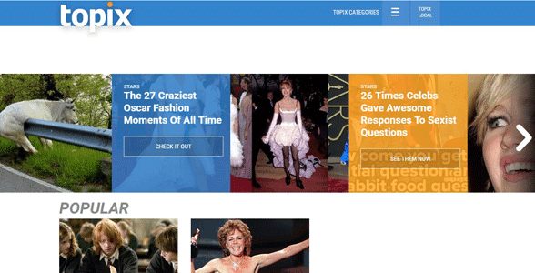 Screenshot of the Topix homepage