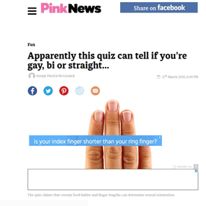 Photo of an online bisexuality quiz