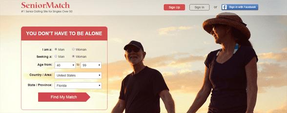 Screenshot of the SeniorMatch homepage