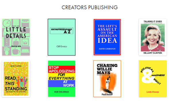 Screenshot of Creators publications