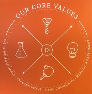 Screenshot of Audiobooks.com's company values
