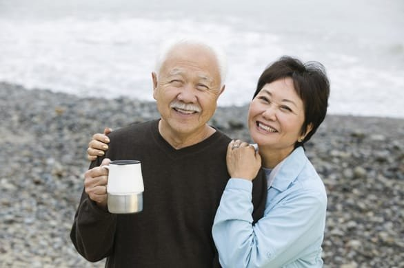Photo of a senior couple on the beach