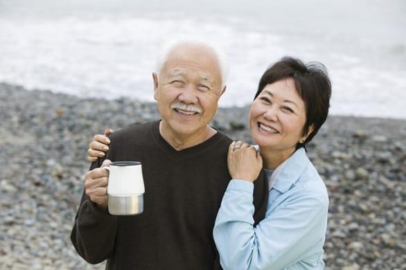 Photo of a senior couple on the beach