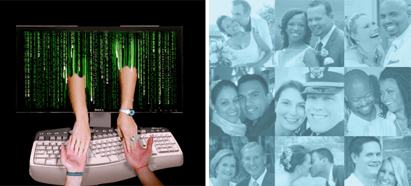 Collage of couples and people holding hands through a computer screen