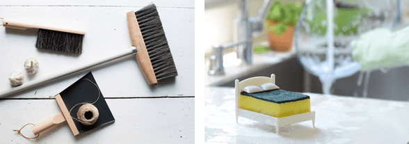Collage of cleaning tools
