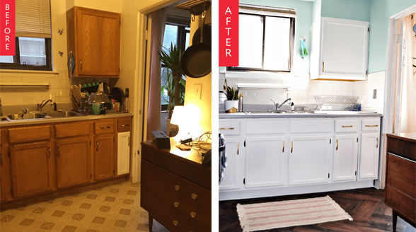 Kitchen makeover before and after photo