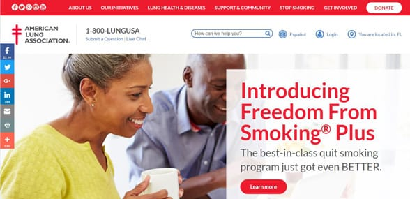Screenshot of the American Lung Association homepage