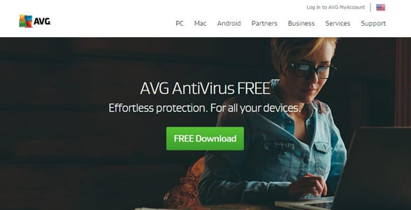 Screenshot of AVG's antivirus product page