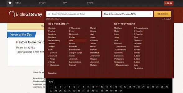 Screenshot of Bible Gateway's homepage